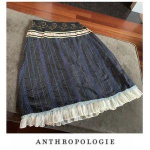 Anthropologie Snak Lace Trim Silk Skirt